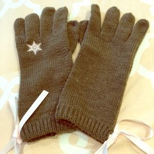VERY CUTE knit gloves with think ties